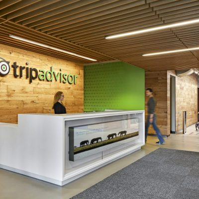 1100 Cross Piece Grille at the Trip Advisor Headquarters, Needham, Massachusetts.  Baker Design Group, Inc. Photo: Robert Benson.