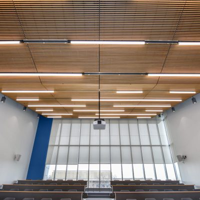 9Wood 1100 Cross Piece Grille at Black Hawk College - Health Sciences Center, Moline, Illinois. Demonica Kemper Architects.