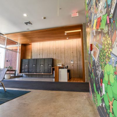 9Wood 2600 Flush Joint Linear at the Skybox Apartments, Eugene, Oregon. ZGF Architects.