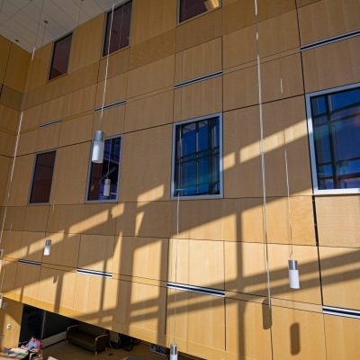 9Wood 4900 Wall Tile at the UC Colorado Springs Lane Center for Academic Health Sciences.  AndersonMasonDale Architects.