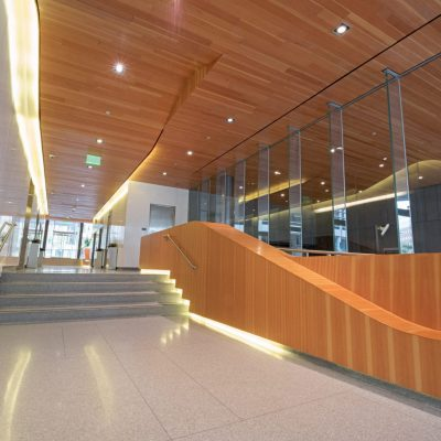 9Wood 2400 T & G Linear at the Triangle Building, Denver, Colorado. AndersonMasonDale Architects.
