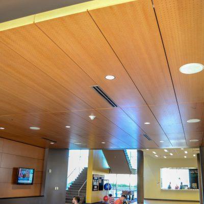 9Wood 5100 Parallel Perf Tile at the ASU Sun Devils Fitness Complex expansion, Tempe, Arizona.  Studio Ma and Sasaki Associates.