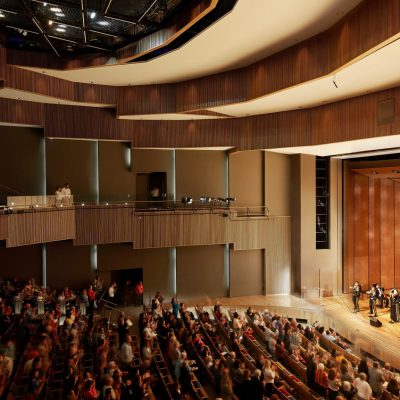 Vertical 1100 Cross Piece Grille at the University of Texas Rio Grande Valley Performing Arts Center. Page Southerland Page. Photo: Dror Baldinger.