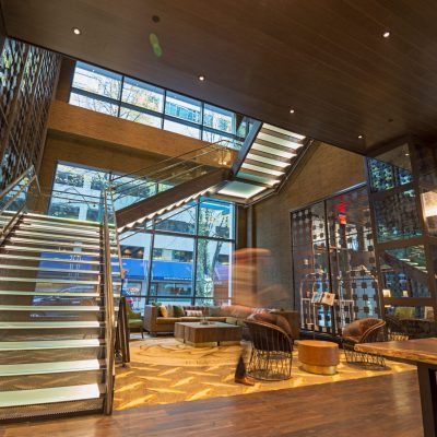 9Wood 2700 Kerf Reveal Linear at the Porter Hotel, Portland, Oregon.  HC Architecture.