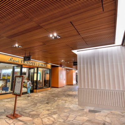 9Wood 1400 Dowel/Cross Piece Grille at the Royal Hawaiian Center. Architects Hawaii Limited.