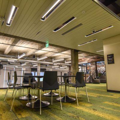 9Wood 2500 T & G Splay Linear at Elemental PDX13, Portland, Oregon.  IA Interior Architects.