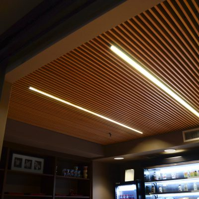 1200 Dowel Grille at the Phoenix Airport Hilton Herb 'N' Express, Phoenix, Arizona. Sixty First Place Architects.