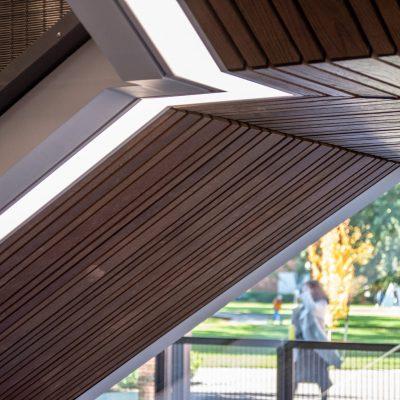 9Wood 2100 Panelized Linear at Tykeson Hall, Eugene, Oregon. Rowell Brokaw.