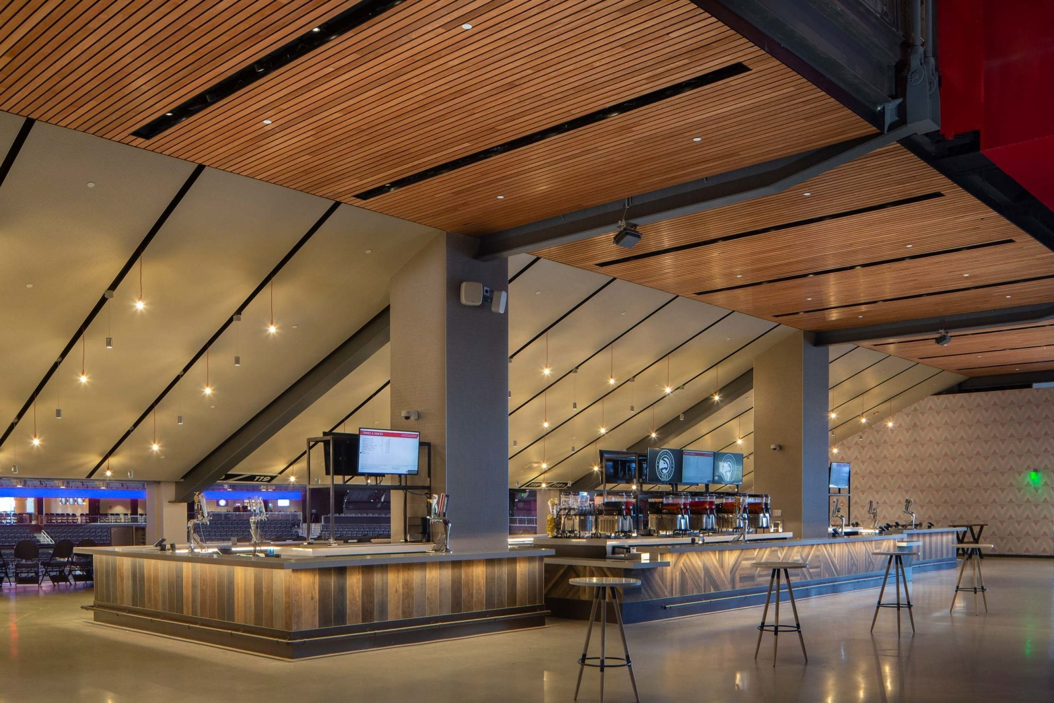 dropped wood ceiling in stadium bar