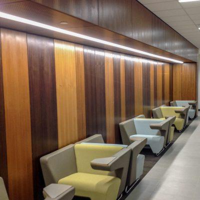 9Wood 4900 Wall Tile at the UT Dallas Callier Richardson Expansion, Richardson, Texas. SmithGroup JJR.