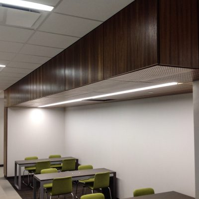 9Wood 5200 Staggered Perf Tile at the UT Dallas Callier Richardson Expansion, Richardson, Texas. SmithGroup JJR.
