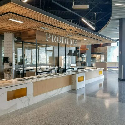 9Wood 1100 Cross Piece Grille at the James Madison University Dining Hall. Moseley Architects.