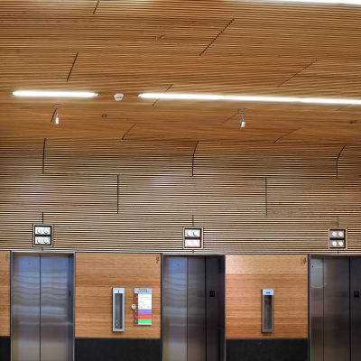 9Wood 1100 Cross Piece Grille at the OHSU Center for Health & Healing, Portland, OR. GBD Architects.