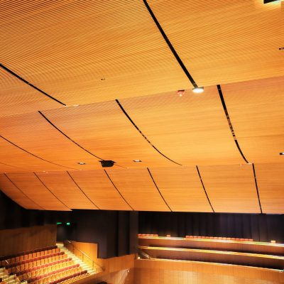 9Wood 1100 Cross Piece Grille at the Soka University Performing Arts Center, Aliso Viejo, CA. ZGF.