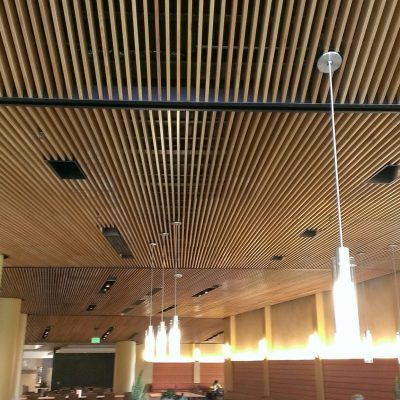 9Wood 1100 Cross Piece Grille at the UCLA Sproul Complex, Los Angeles, CA. Keiran Timberlake.
