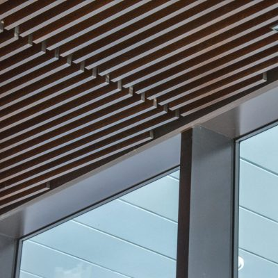 9Wood 1100 Cross Piece Grille at the 1900 First Rooftop Restaurant and Bar, Seattle, Washington. Olson Kundig.