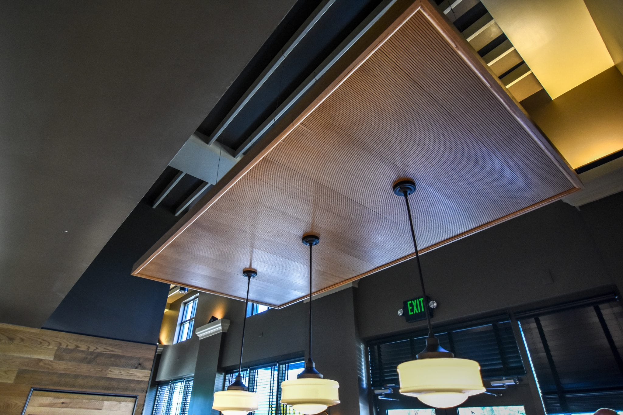 hanging wood ceiling in commercial building