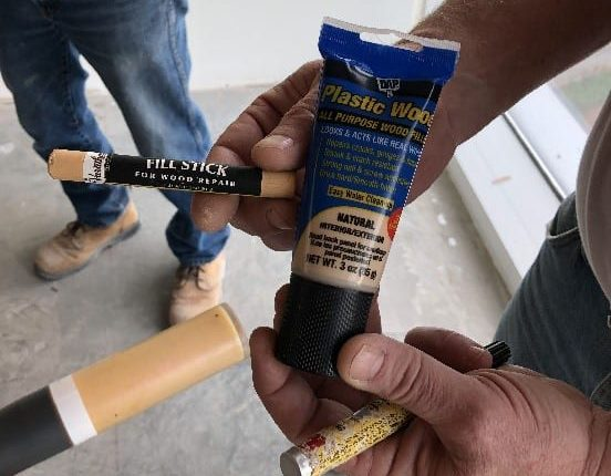 Plastic Wood Latex filler has a variety of wood finishes including white, the squeeze tube is a must have.