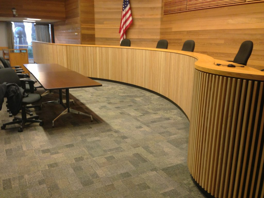 court room wood wall application