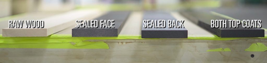 this image shows for different boards at different steps in the process. To the far left is a board with no stain and no finish. The one immediately to the right has a sealed face but you can still see the original wood color. The final two on the right show a fully sealed back and the full top coat experience.