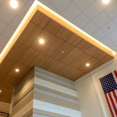 9Wood 4300 Lift & Lock Tile at Franklin High School, Franklin, Massachusetts. Ai3 Architects.