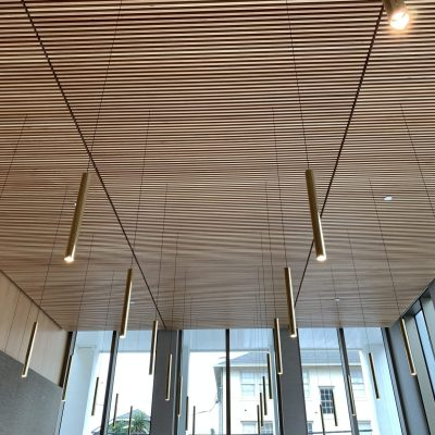 9Wood 1400 Dowel/Cross Piece Grille at Sacred Heart, New Orleans, Louisiana. Gould Evans Architects.