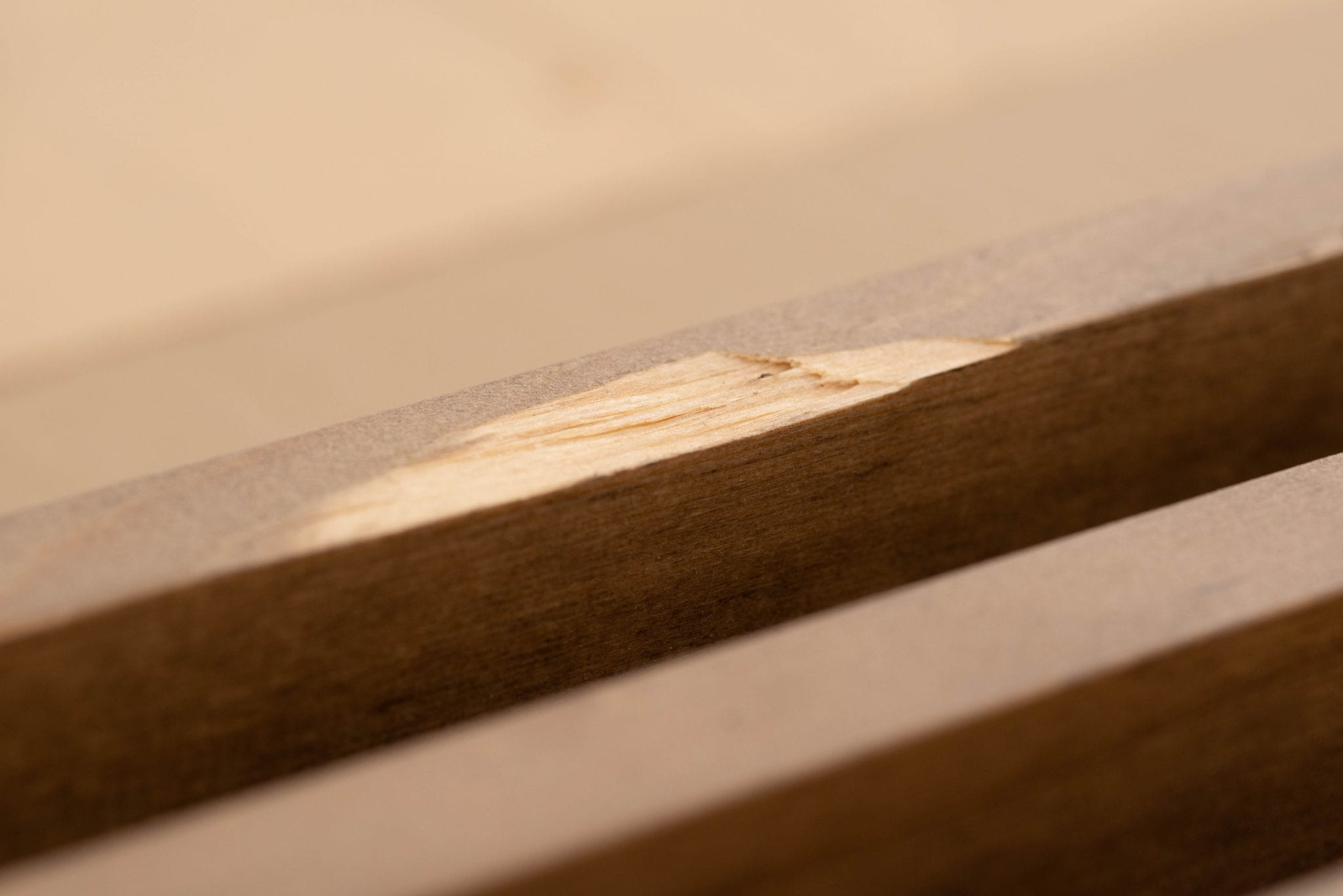 Here you can see a wood repair needed on the face of a wood grille.