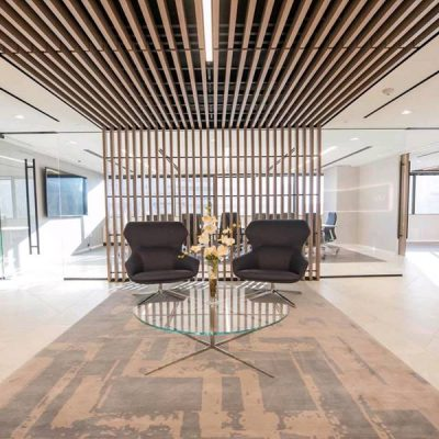 9Wood 1100 Cross Piece Grille at MV Financial, Bethesda, Maryland. HKS Architects.