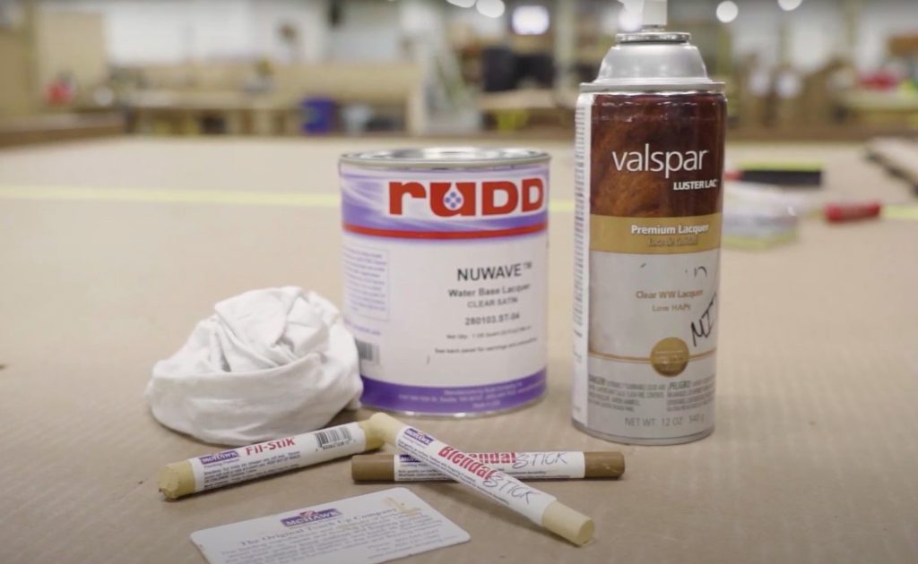 Tools to repair surface damage on wood ceilings.